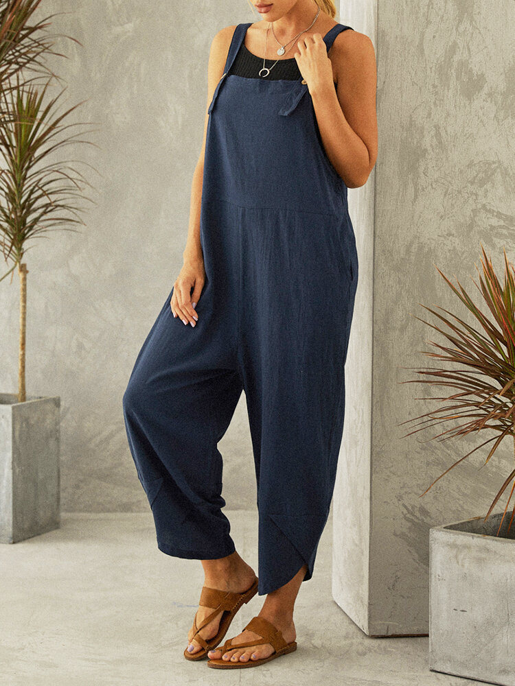 Best Casual Solid Color Straps Plus Size Jumpsuits with Pockets You Can Buy