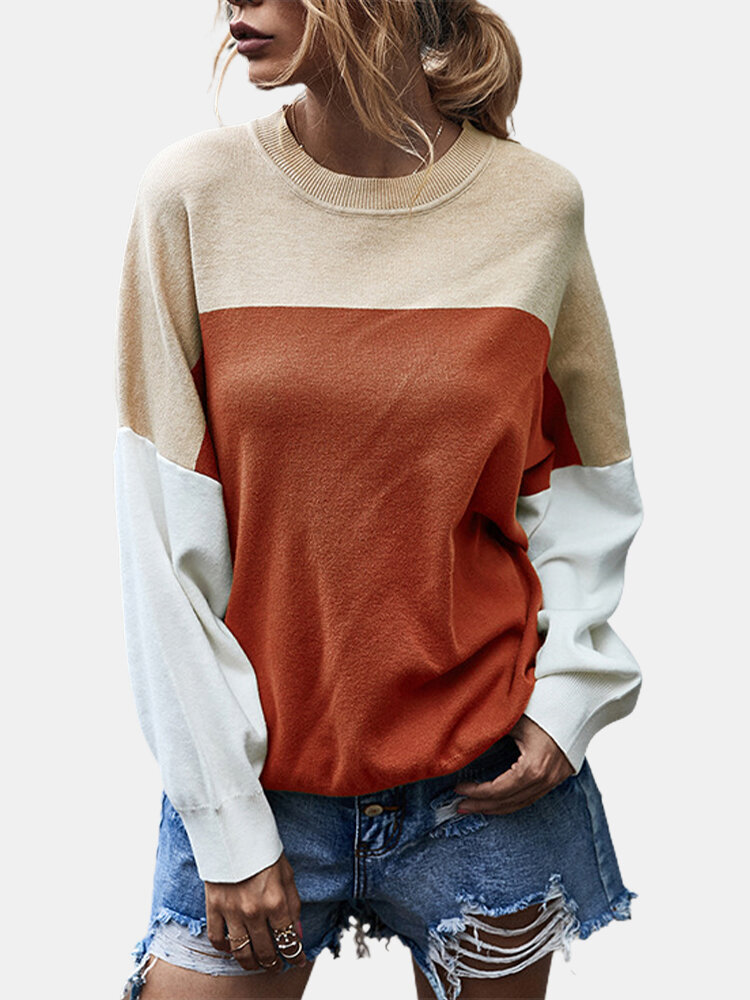 Best Contrast Color Patchwork Long Sleeves O-neck Pullover Sweater For Women You Can Buy