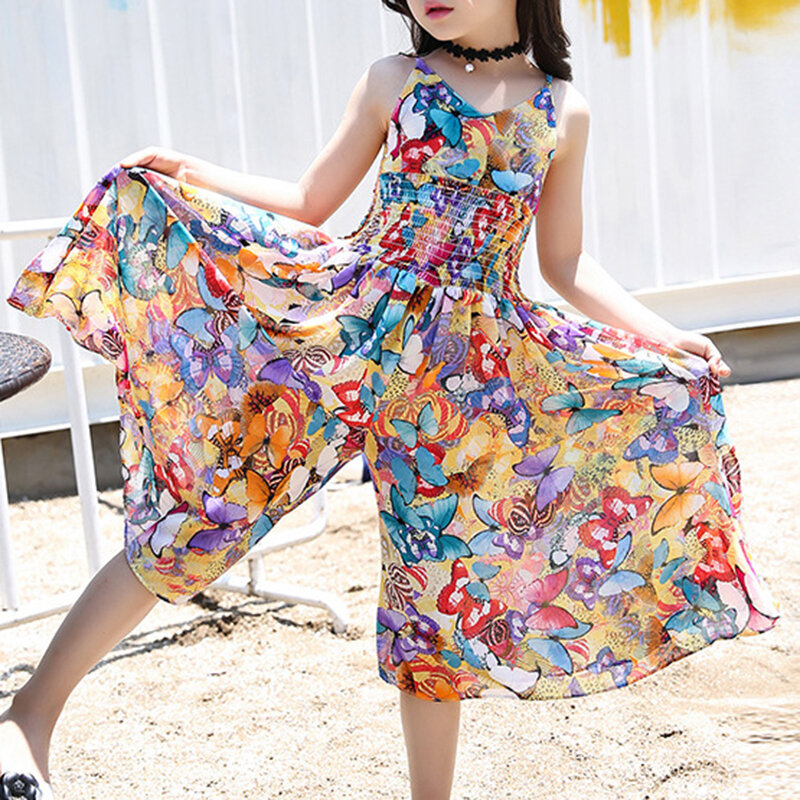 Best Bohemian Style Girls Floral Summer Jumpsuit For 6-15 Years You Can Buy