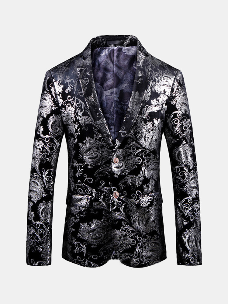 Best Silver Color Printing Wedding Banquet Club Stage Lapel Blazer for Men You Can Buy