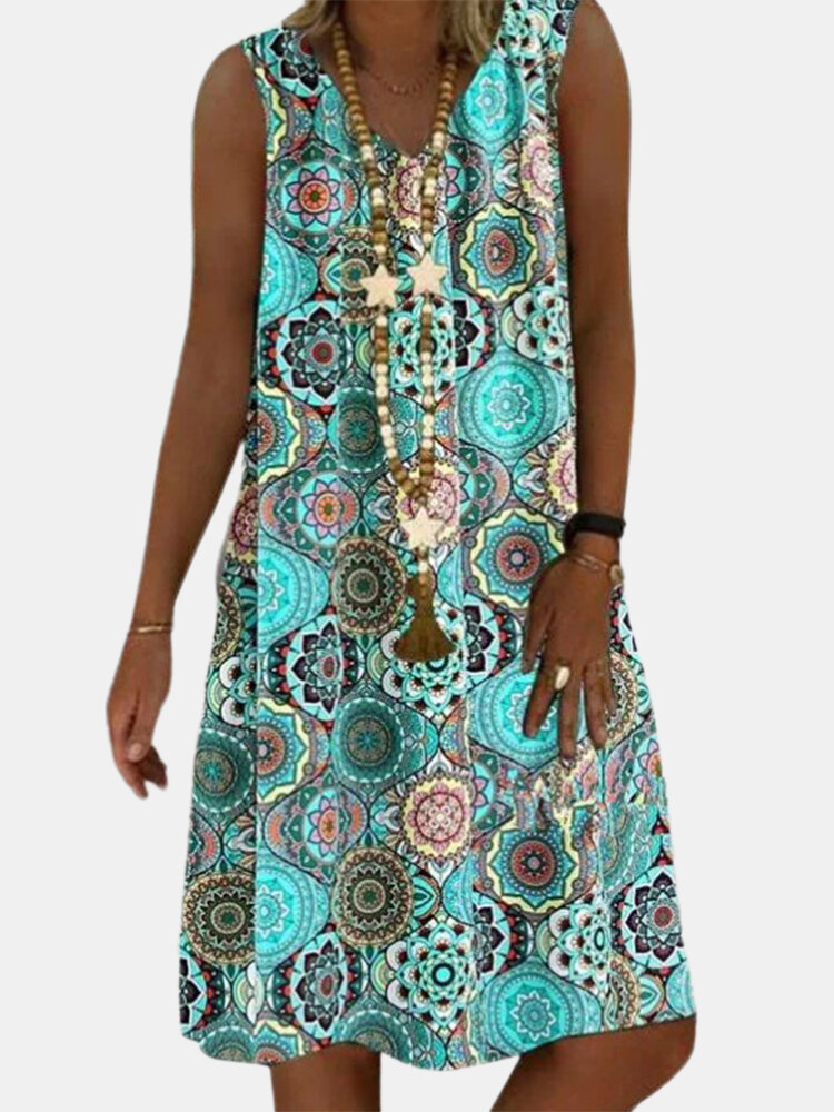 Best Ethnic Tie-dyed Print Sleeveless Loose V-neck Dress For Women You Can Buy