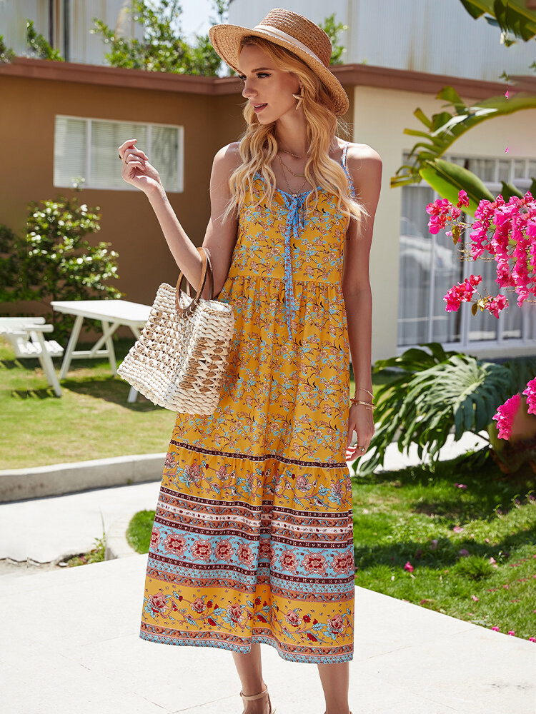 Best Bohemia Vintage Floral Print Sleeveless V-neck Casual Dress You Can Buy