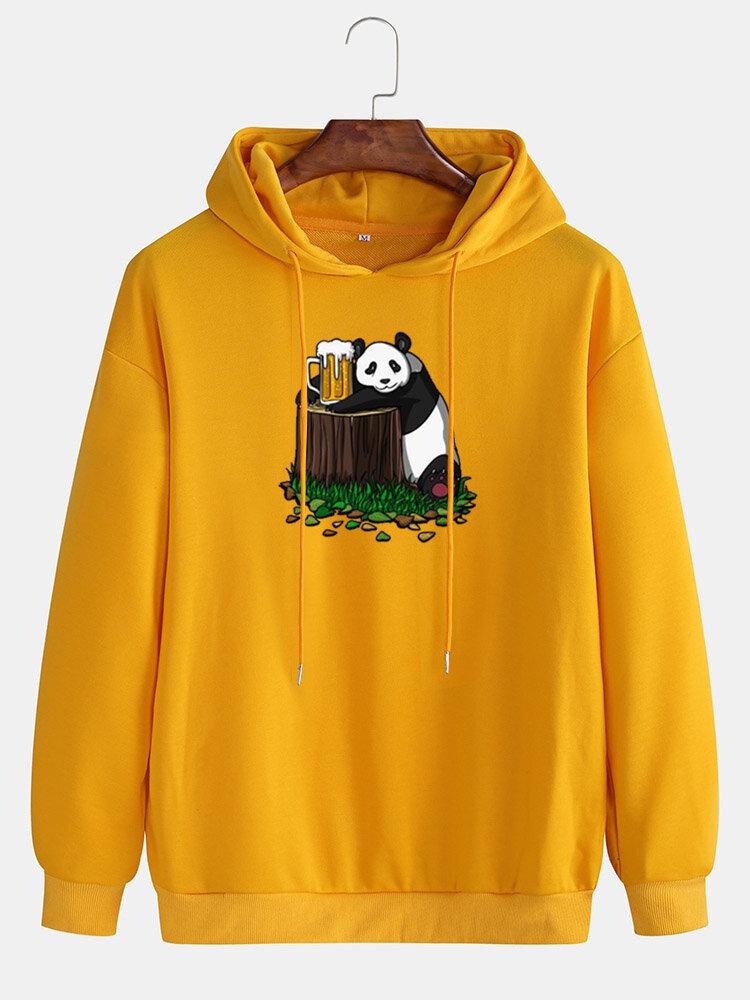 Best Mens Cotton Panda Beer Print Drop Shoulder Casual Drawstring Hoodies You Can Buy