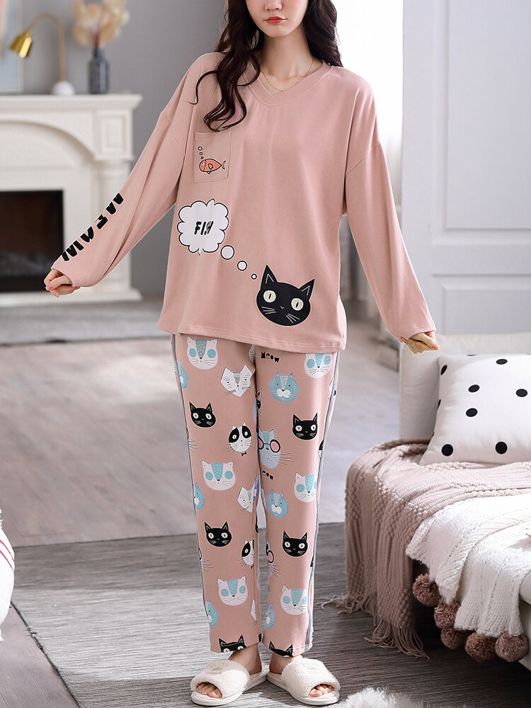 Best Women Cotton Cute Cat Letter Print V-Neck Chest Pocket Long Pajamas Sets You Can Buy