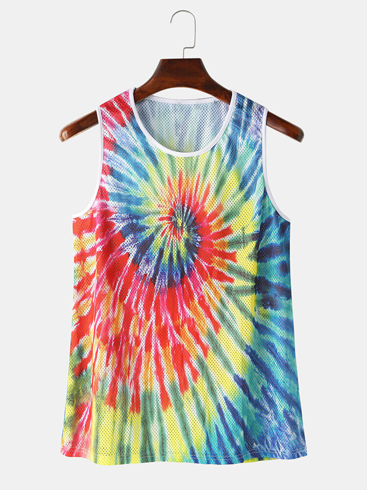 Best Colorful Tie Dye Mesh Sport Sleeveless Tank Tops Breathable Running Gym Vest For Men You Can Buy