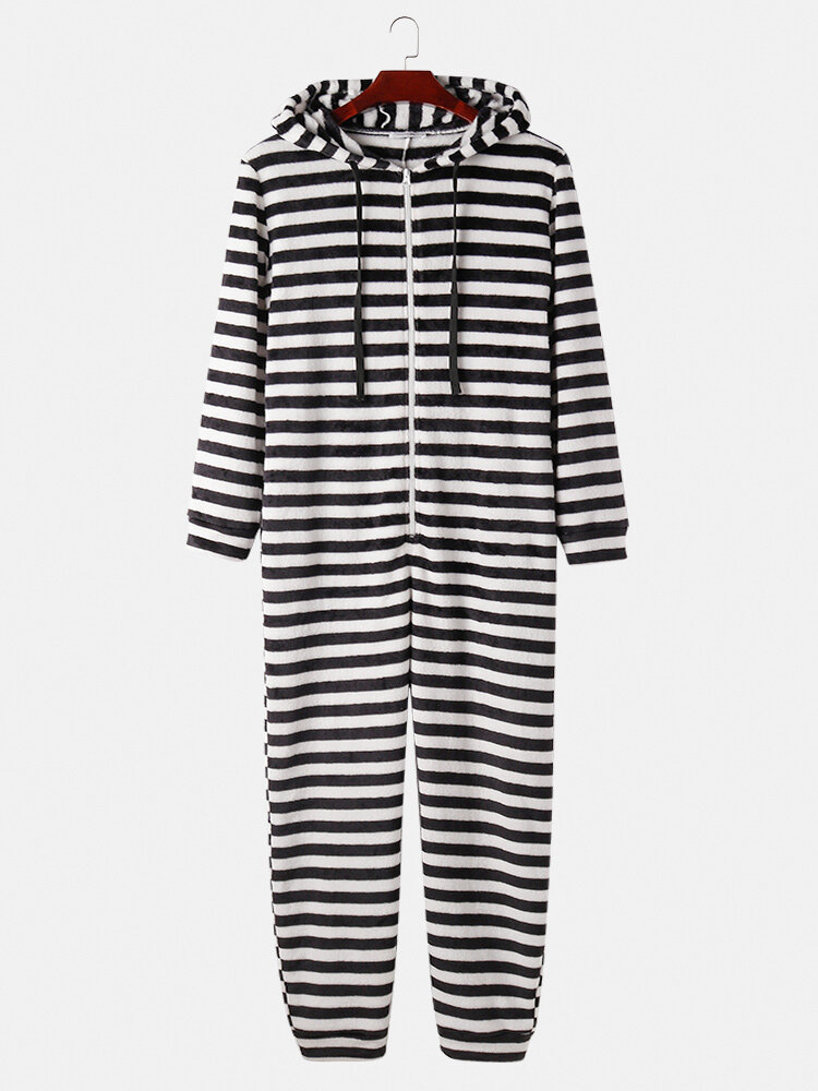Best Men White Striped Hooded Jumpsuit Fleece Warm Onesies Loungewear You Can Buy