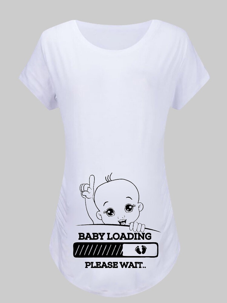 Best Cartoon Print Short Sleeves O-neck Casual Tops For Pregnant Women You Can Buy