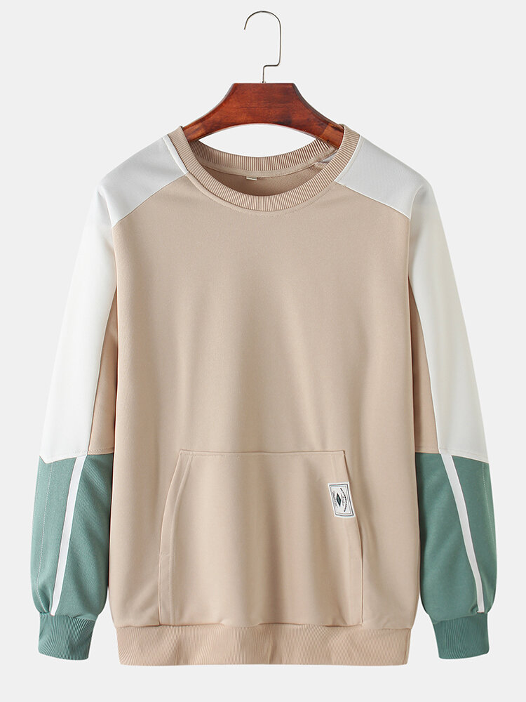 Best Mens Cotton Color Block Stitching Applique Casual Pouch Pocket Crew Neck Sweatshirts You Can Buy