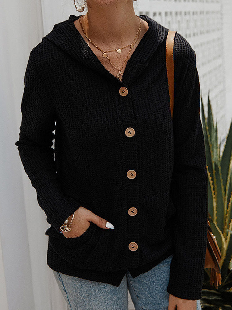 Best Casual Solid Color Long Sleeve Button Hooded Sweater You Can Buy