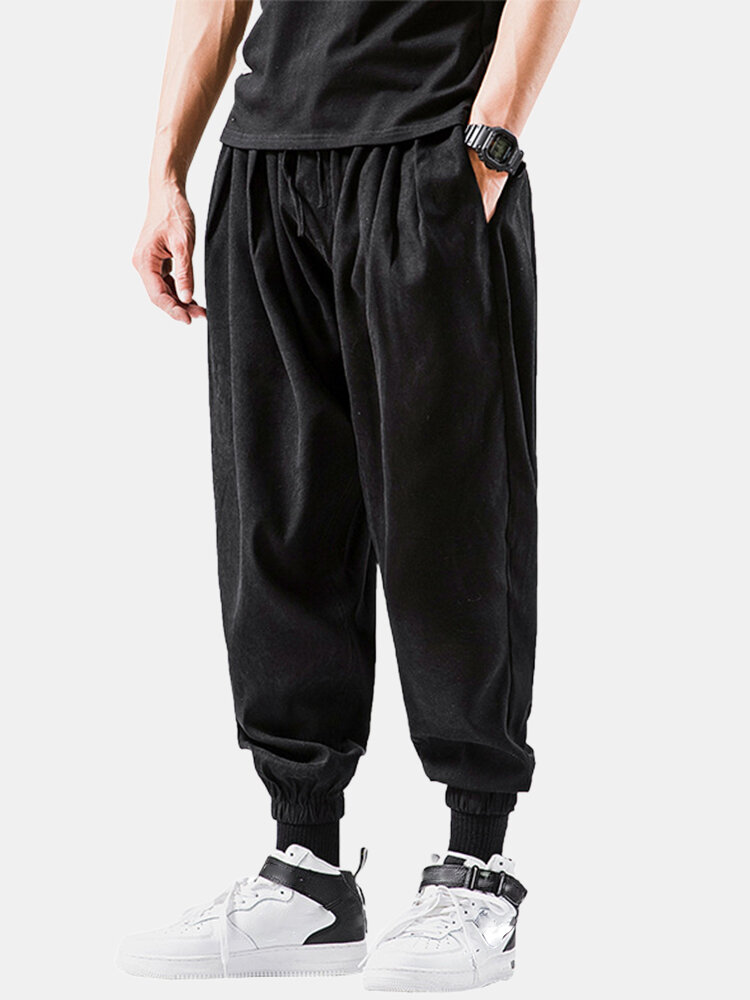 Best Mens Solid Color Relaxed Fit Drawstring Beam Feet Cropped Pants You Can Buy