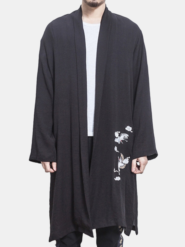 Best Mens Thin Linen Blend Embroidery Mid Long Split Cardigans Casual Loose Jacket You Can Buy