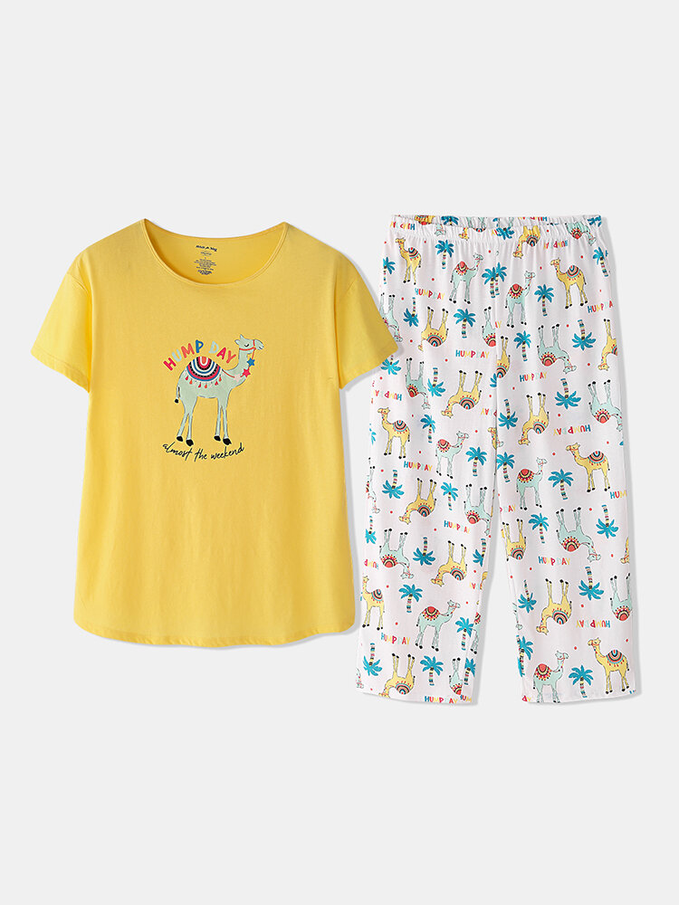 Best Plus Size Cotton Loungewear Alpaca Print Short Sleeves Softies Women Yellow Summer Sleepwear You Can Buy