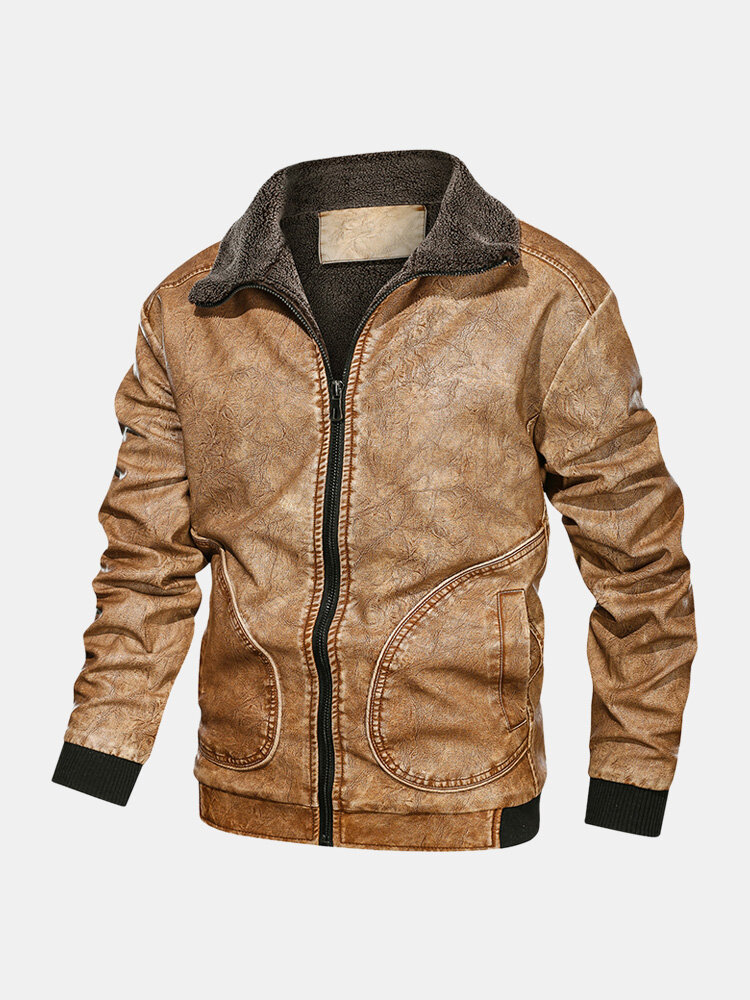 Best Mens Plus Velvet Lined Stand Collar Zipper Front Pocket Fit Warm Thicken Jackets You Can Buy