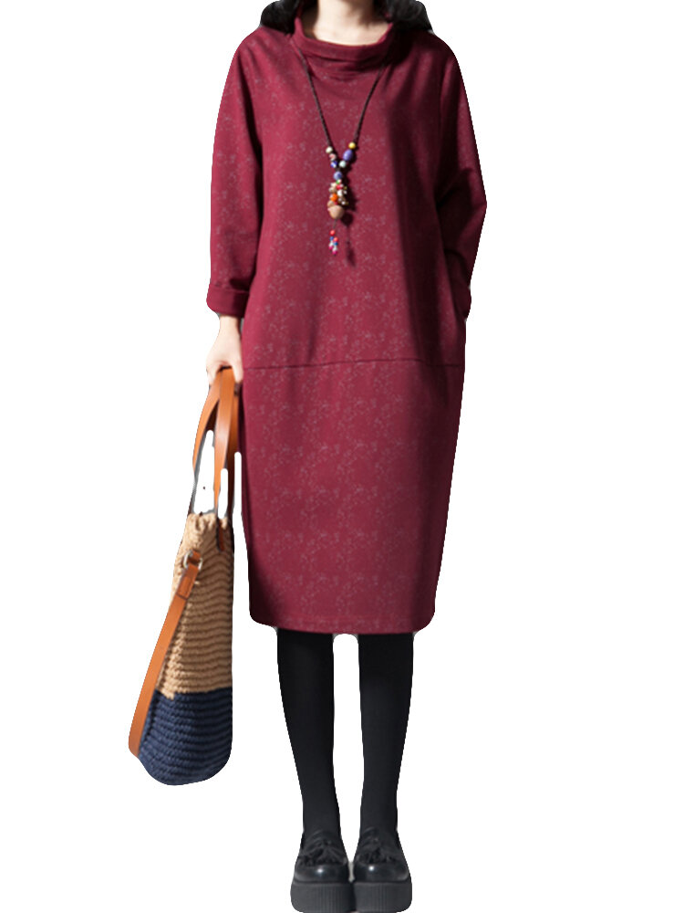 Best Solid Color Long Sleeve High-neck Casual Dress You Can Buy