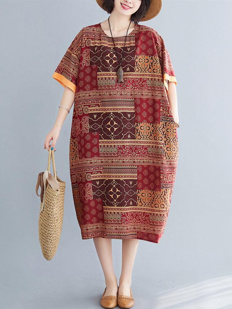 Best Vintage African Print Short Sleeve Loose Dress You Can Buy