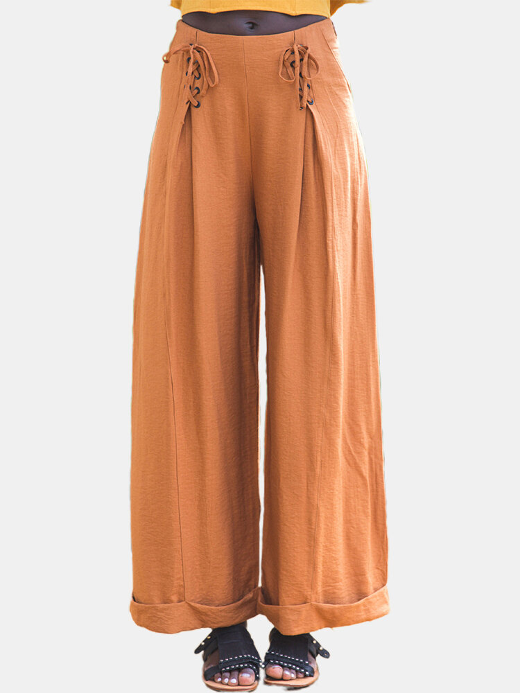 Best Solid Color Bandage Wide Leg Casual Pants For Women You Can Buy