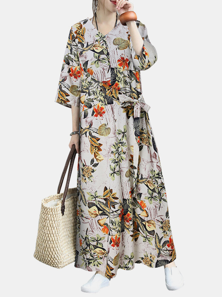 Best Vintage Floral Print Half Sleeves V-neck Casual Dress For Women You Can Buy