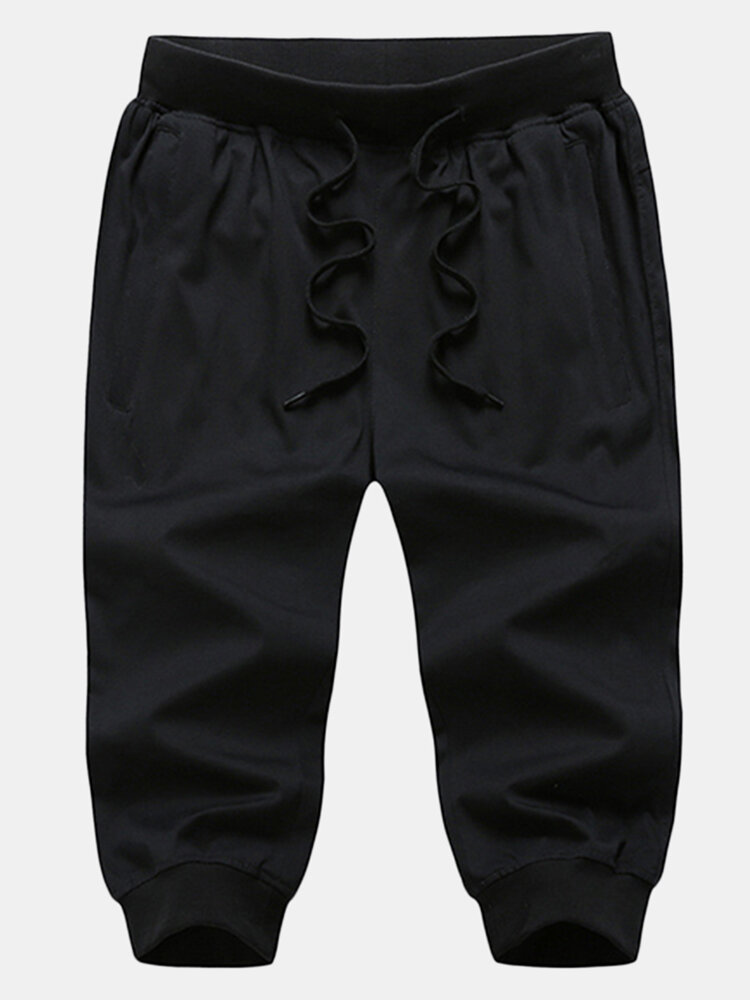 Best Mens Summer Breathable Solid Color Drawstring Sport Casual Calf-Length Pencil Pants You Can Buy