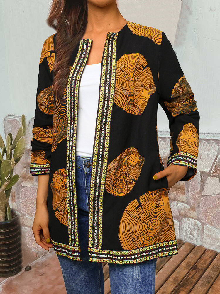 Best Geometric Print Webbing Patchwork Long Sleeve Plus Size Jackets You Can Buy