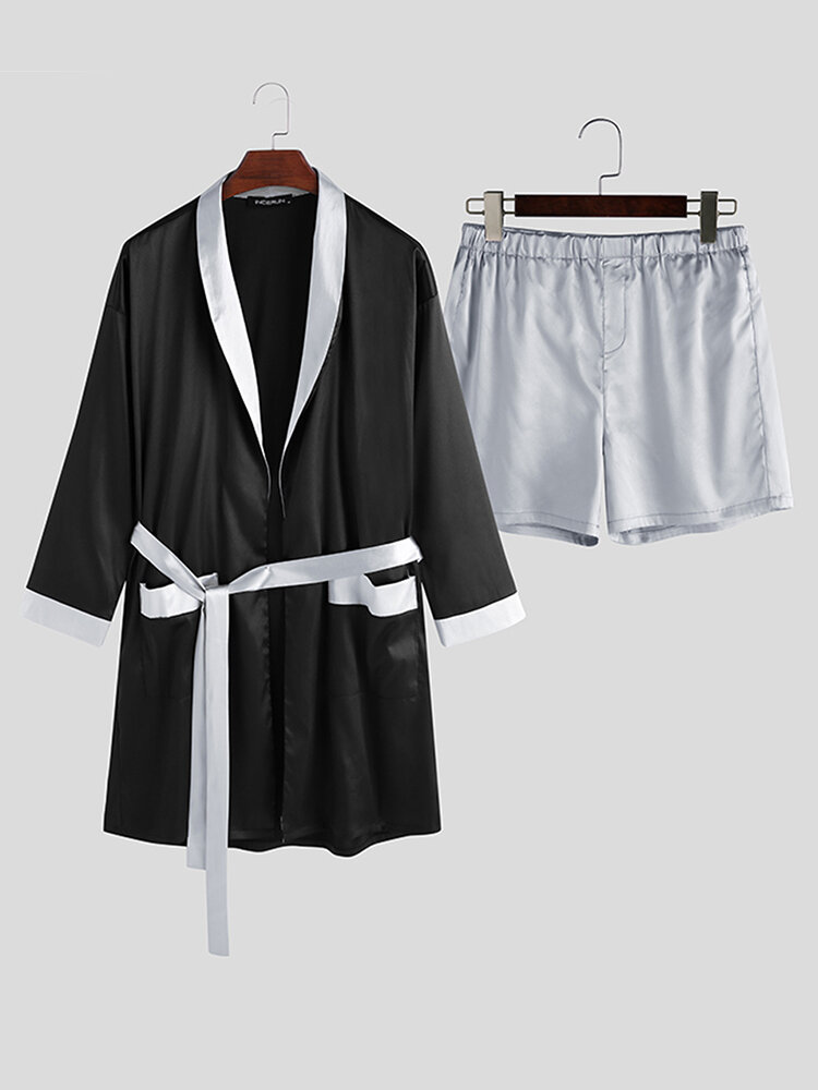 Best Men Contrast Color Shawl Collar Pajama Set Smooth Breathable Sleep Robe With Pocket You Can Buy