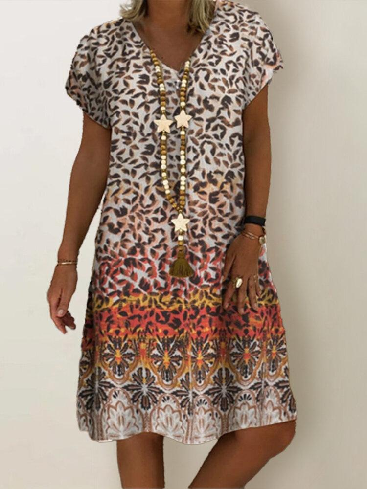Best Leopard Print V-neck Short Sleeve Plus Size Dress You Can Buy