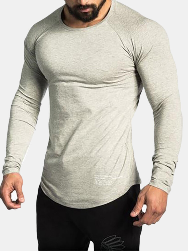 Best Mens Sport Cotton Breathable Tops Solid Color O-neck Long Sleeve Casual T shirt You Can Buy