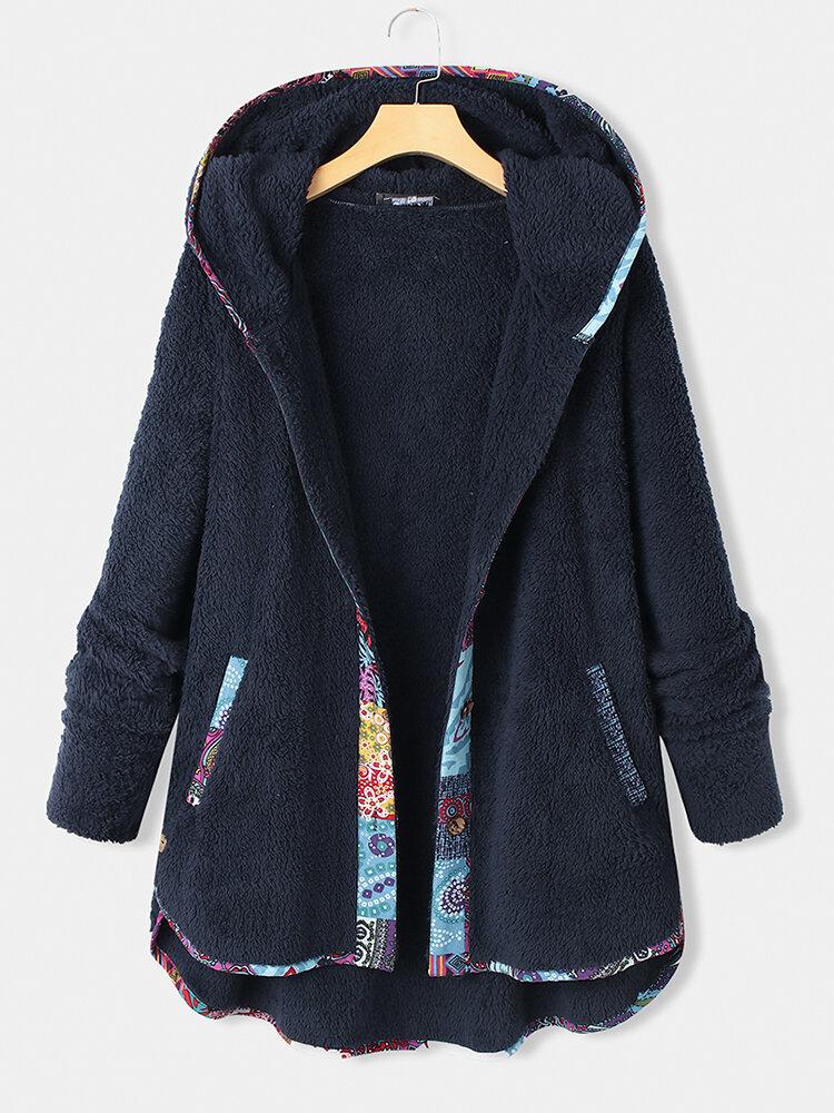 Best Ethnic Webbing Patchwork Fleece Long Sleeve Hooded Plus Size Coat You Can Buy