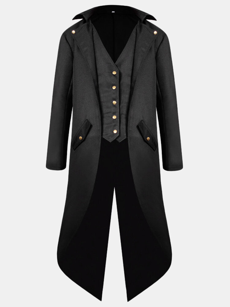 Best Mens Mid Long Style Vintage Tuxedo Cosplay Banquet Wedding Fashion Blazer You Can Buy