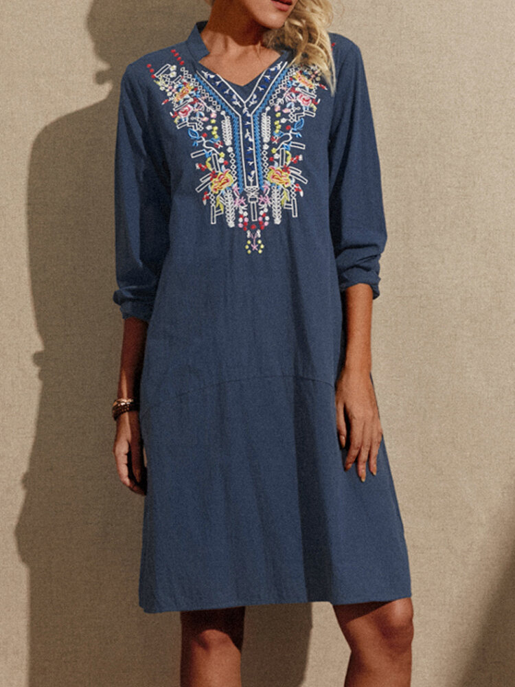Best Embroidery V-neck Pockets Long Sleeve Cotton Dress You Can Buy