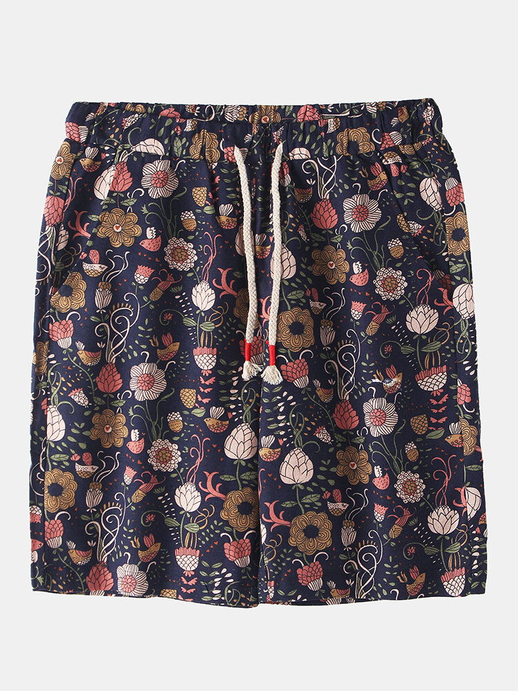 Best Mens Ethnic Style Floral Print Breathable Light Casual Drawstring Shorts You Can Buy