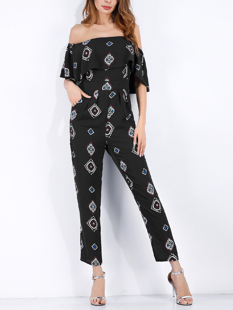 Best Off-shoulder Print Flouncing Jumpsuit For Women You Can Buy