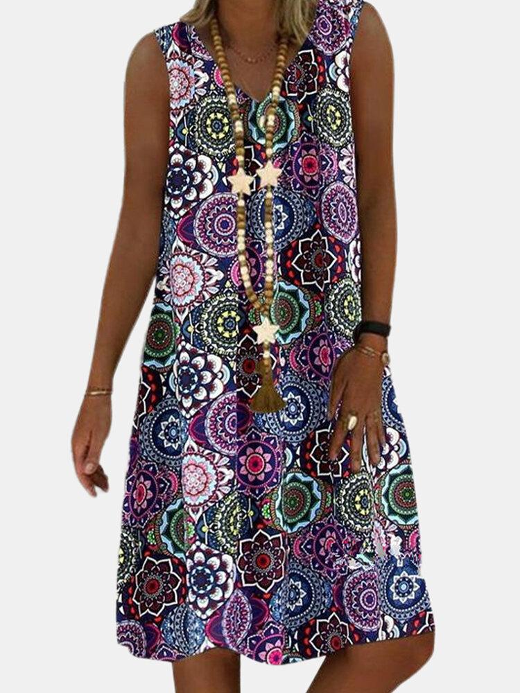 Best Vintage Printed V-neck Sleeveless Midi Dress You Can Buy