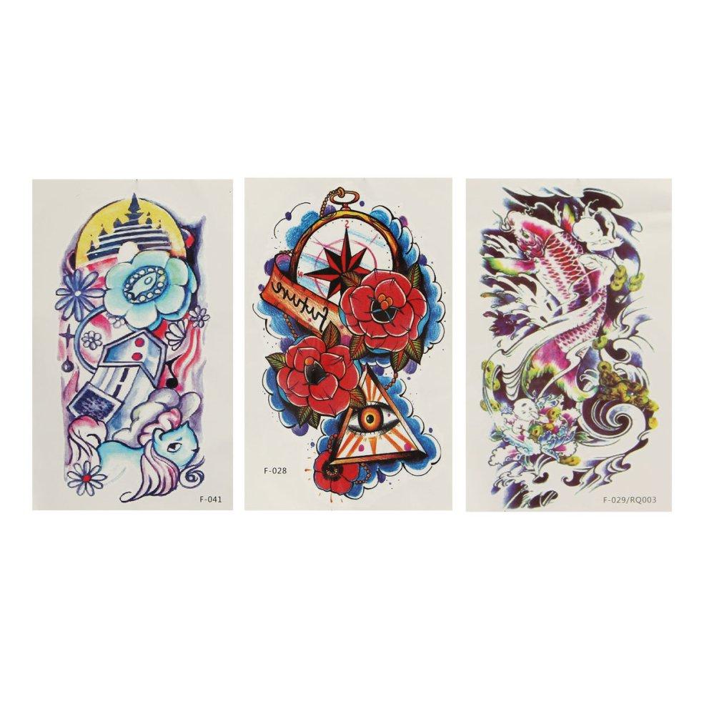 красочный рыбий цветок Pattern тотем руки обратно временная татуировка наклейка Decal
