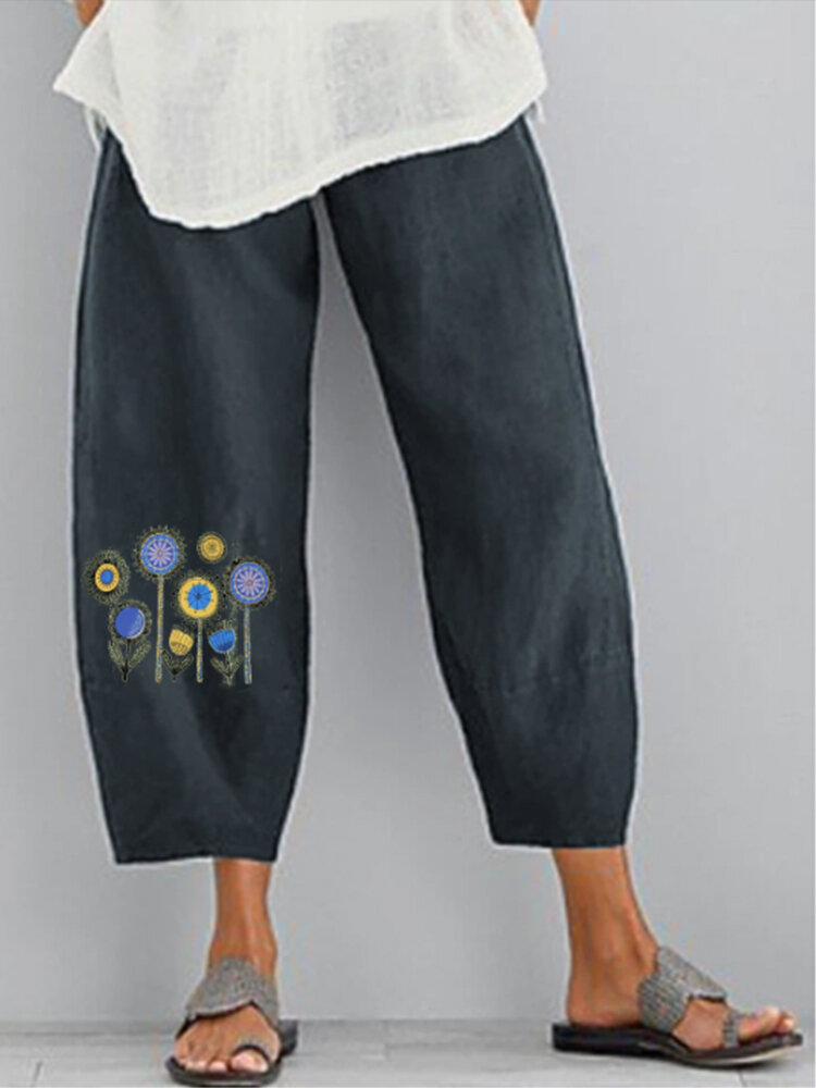Best Flowers Print Elastic Waist Casual Plus Size Pants You Can Buy