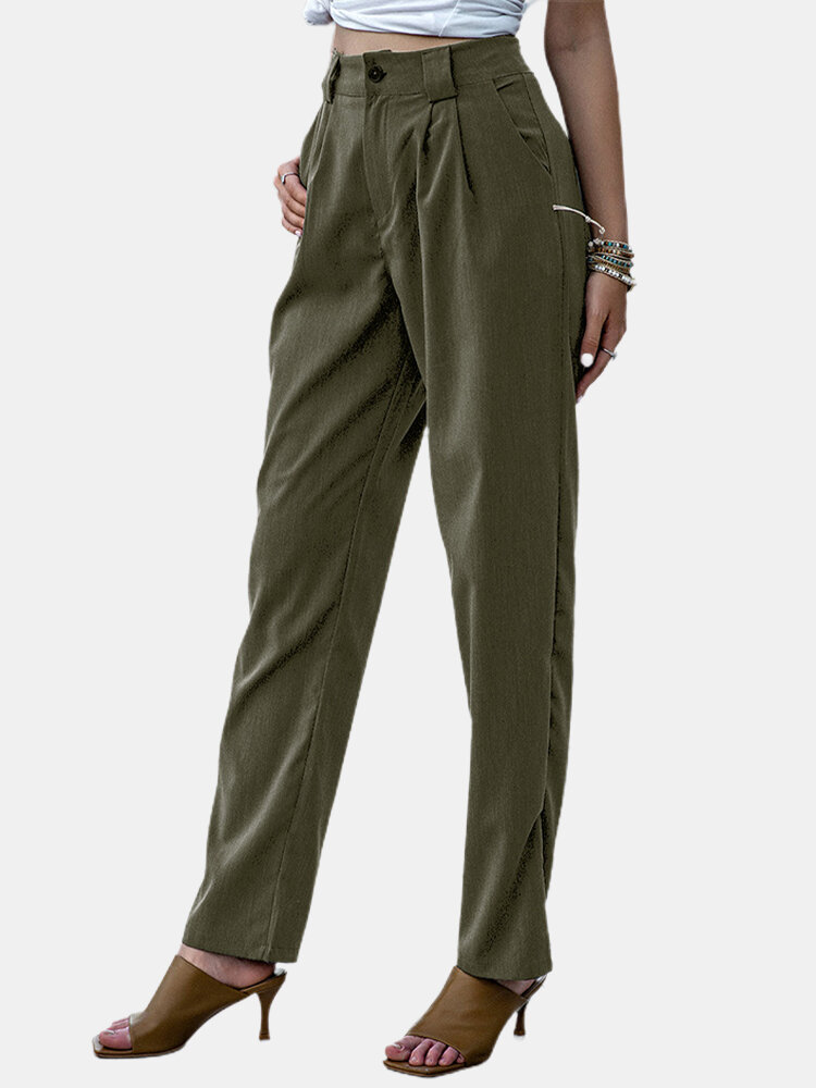 Best Solid Color Casual Zipper Fly Suit Pants For Women You Can Buy