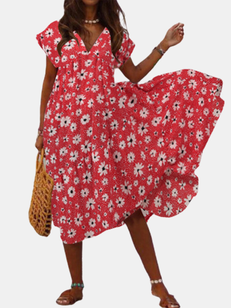 Best Daisy Floral Print Irregular Plus Size Dress You Can Buy