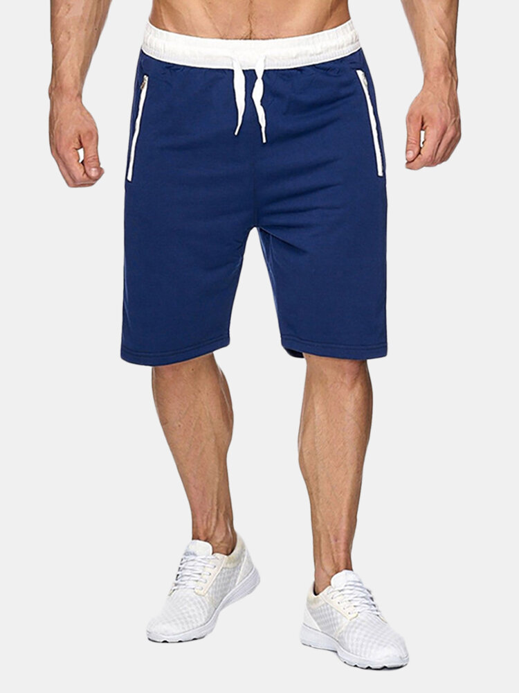 Best Mens Summer Cotton Breathable Solid Color Knee Length Drawstring Casual Running Shorts You Can Buy