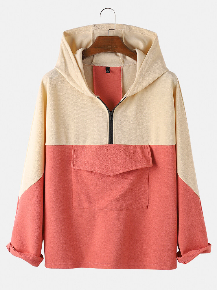 Best Mens Contrast Color Half Zipper Front Loose Fit Long Sleeve Hoodies With Pocket You Can Buy