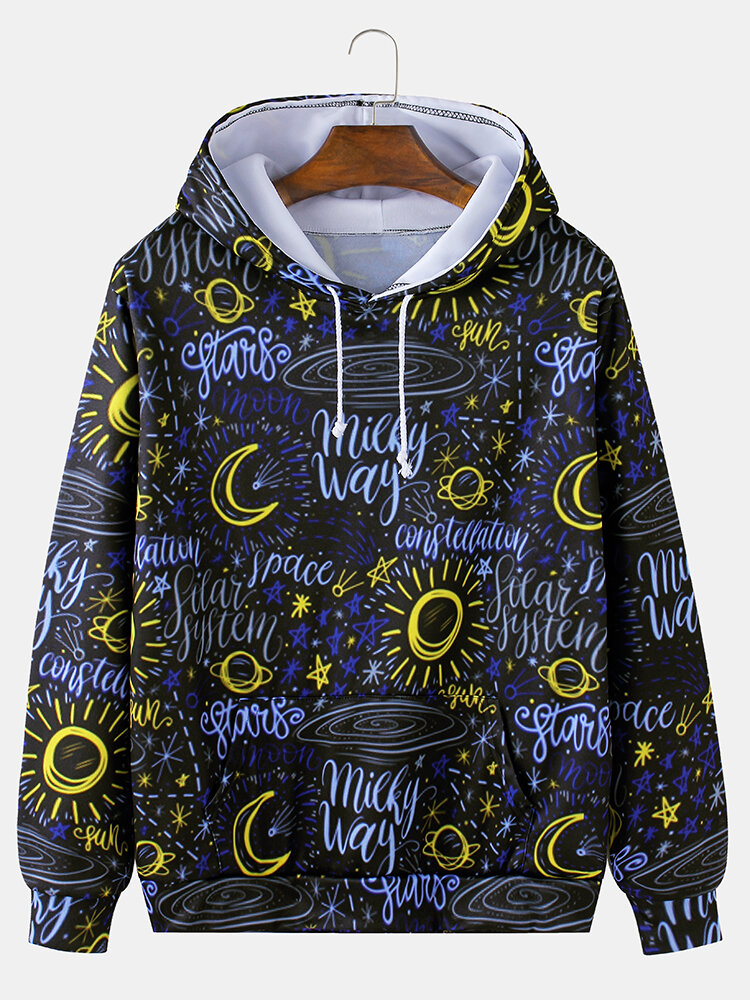 Best Mens Graffiti Sun & Moon Print Loose Casual Drawstring Hoodies With Muff Pocket You Can Buy