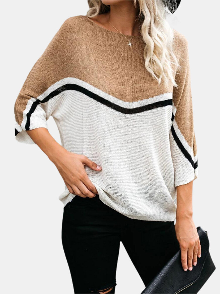 Best Contrast Color Long Sleeves Pullover Knitted Sweater For Women You Can Buy