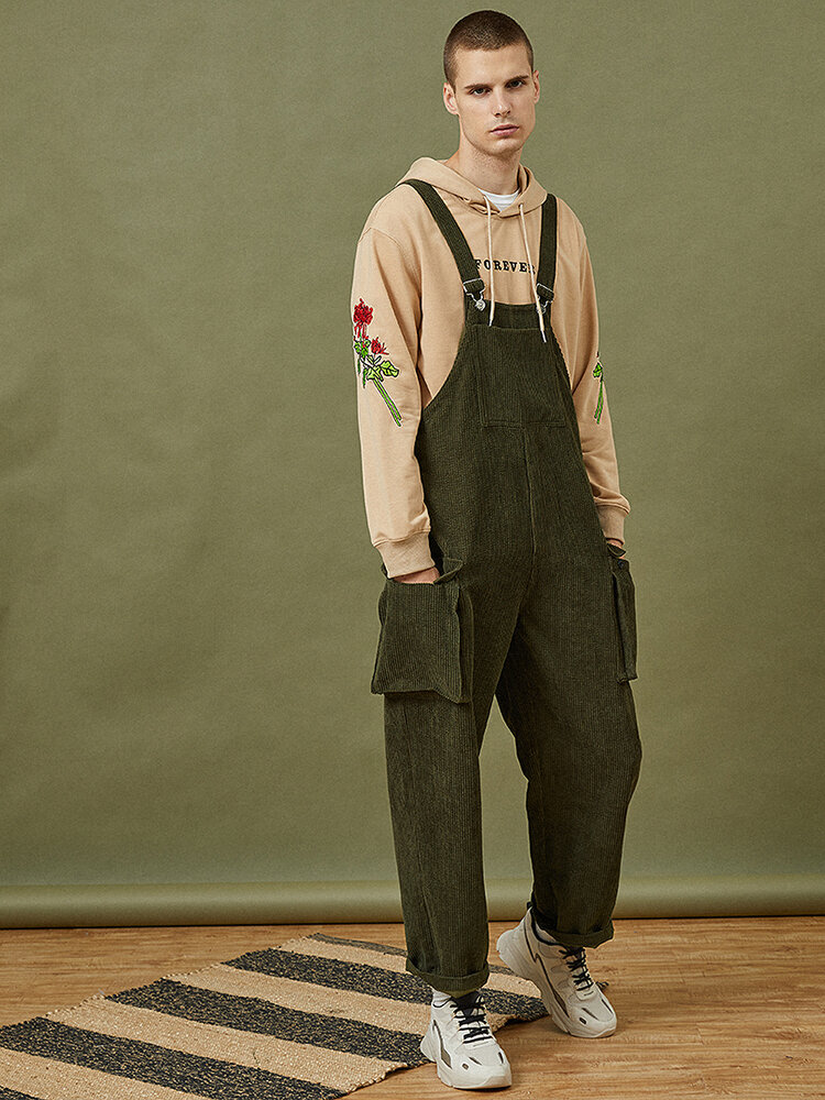 Best Mens Corduroy Vintage Solid Loose Casual Overalls Jumpsuits With Multi Pockets You Can Buy