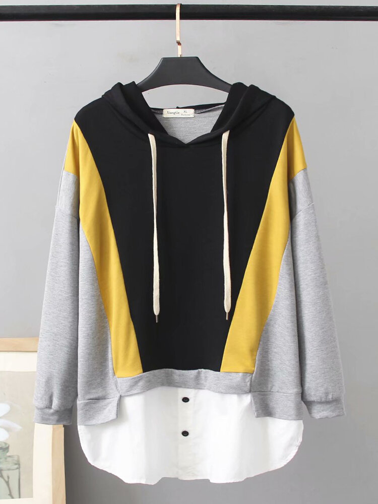 Best Casual Patchwork Drawstring Plus Size Hoodie for Women You Can Buy