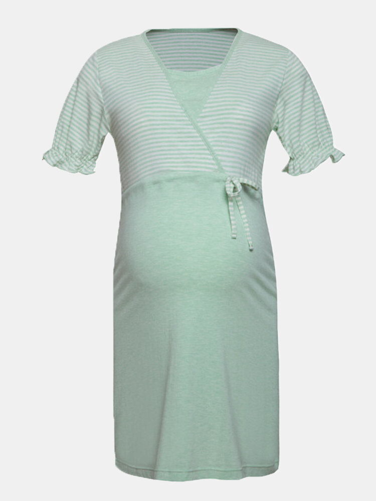 Best Maternity Striped Short Sleeves Front Open Loose Thin Pajama Casual Nursing Dress You Can Buy