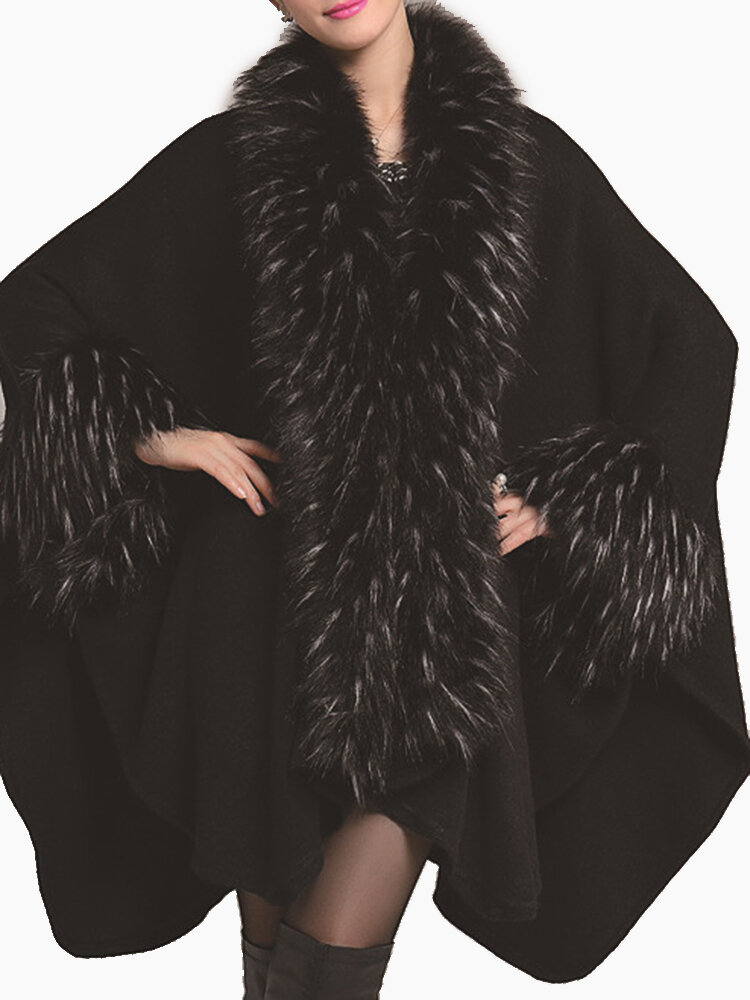 Best Women Knitted Faux Fur Collar Batwing Sleeve Shawl Cloak Coats You Can Buy