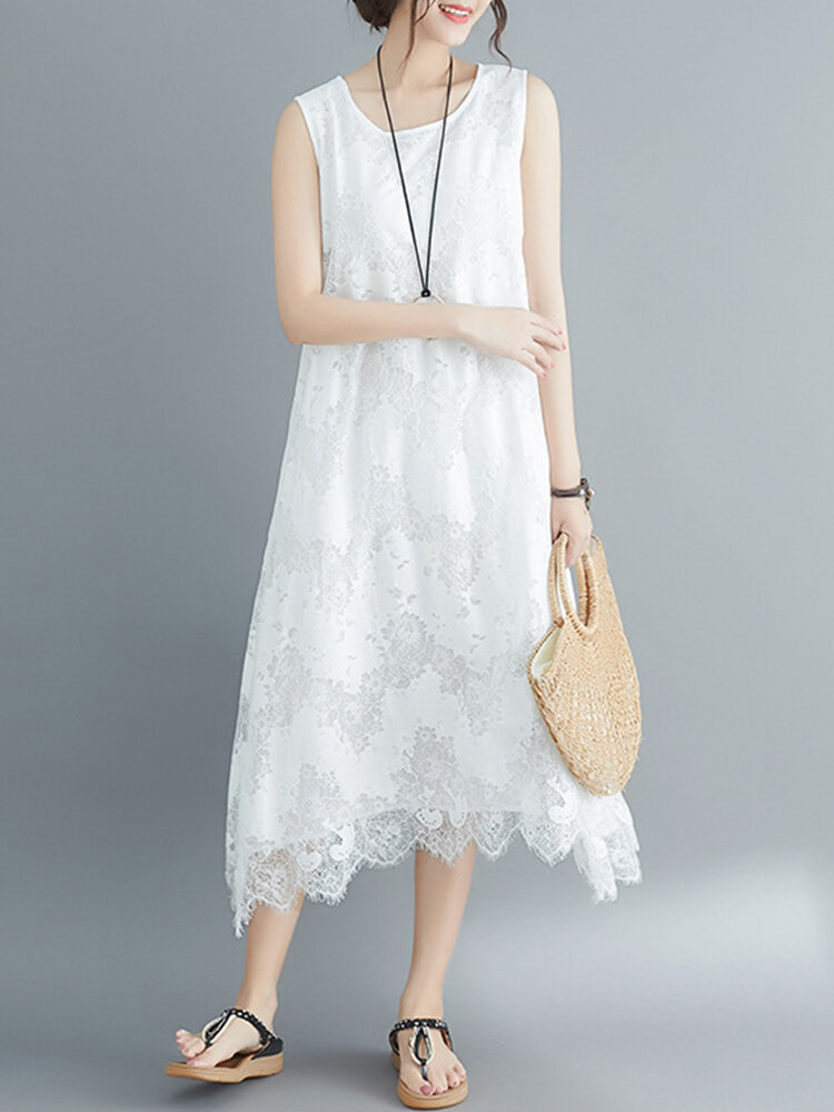 Best Solid Color Lace Sleeveless Vintage Dress For Women You Can Buy