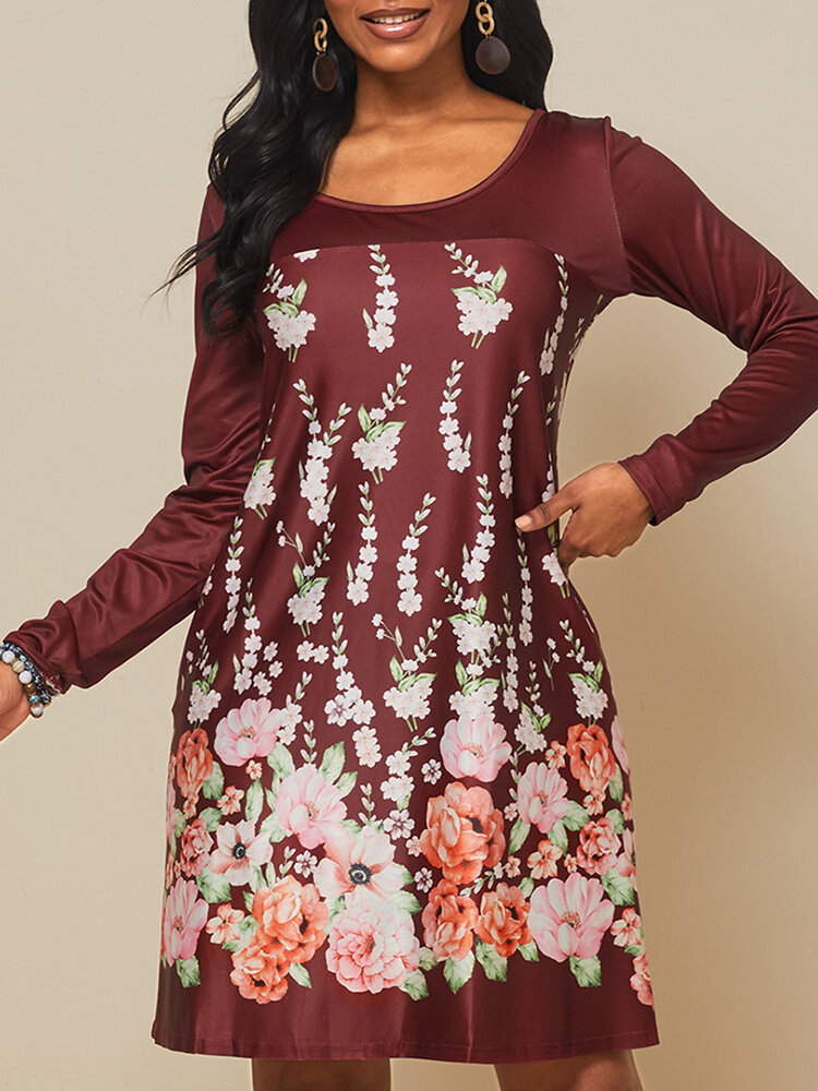 Best Floral Printed Long Sleeve O-neck Midi Dress You Can Buy