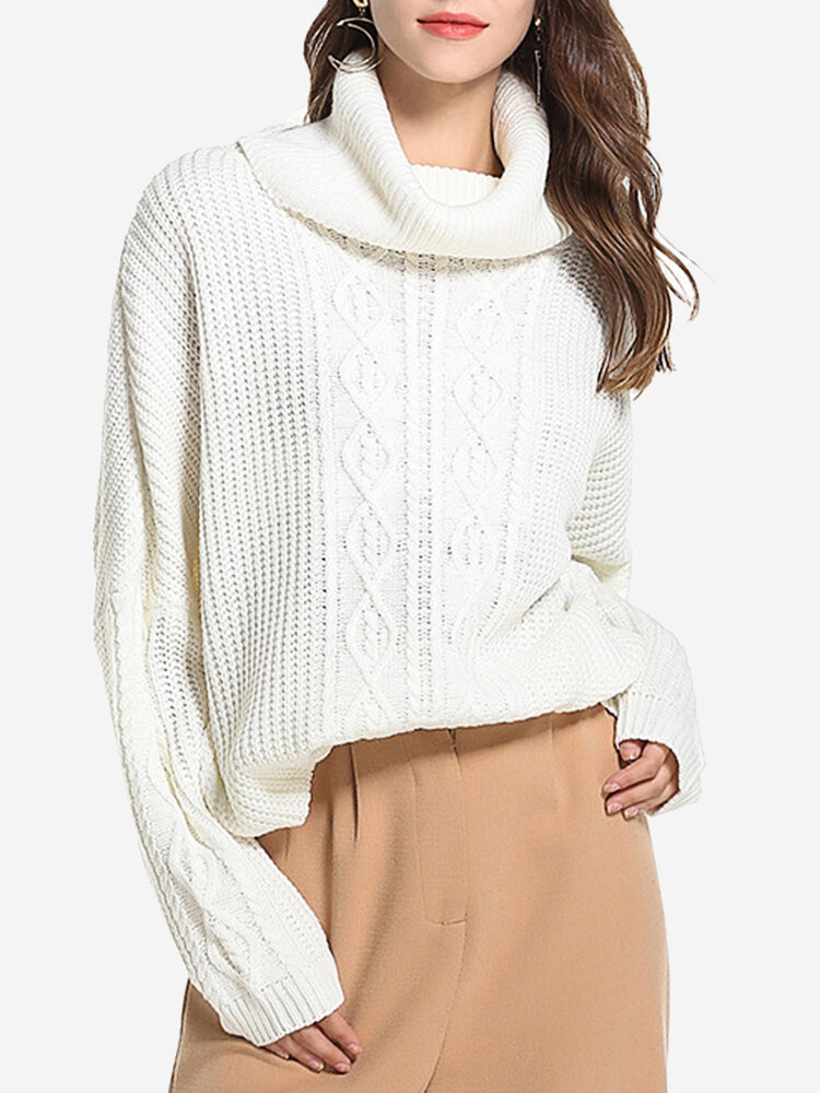 Best Twist Weave Solid Color Turtleneck Loose Casual Sweaters You Can Buy