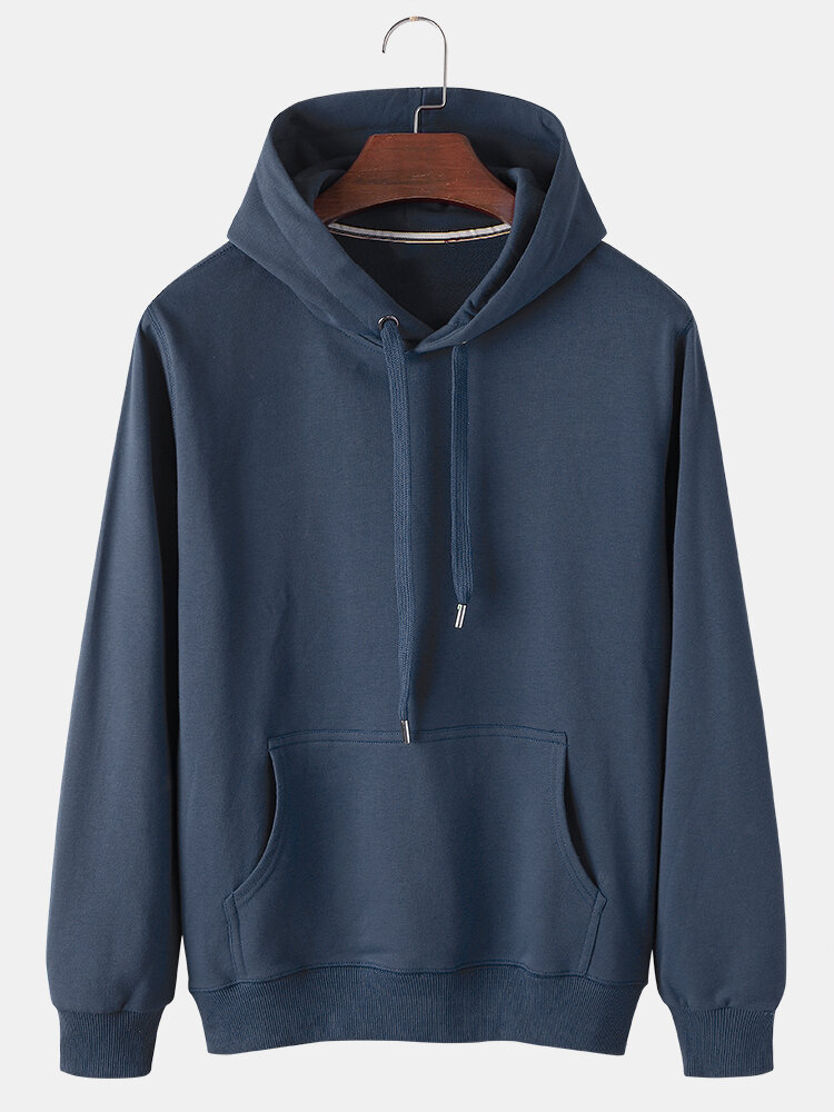 Best Mens Solid Color Cotton Casual Loose Drawstring Hoodies With Kangaroo Pocket You Can Buy