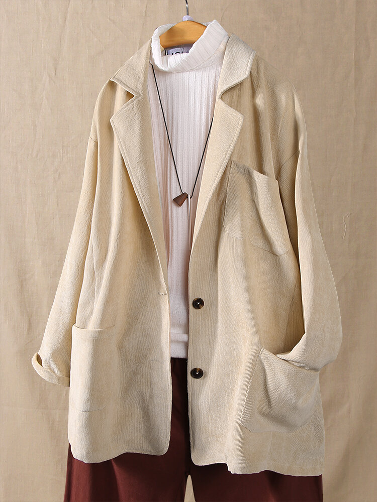 Best Corduroy Solid Color Long Sleeve Lapel Plus Size Jackets You Can Buy