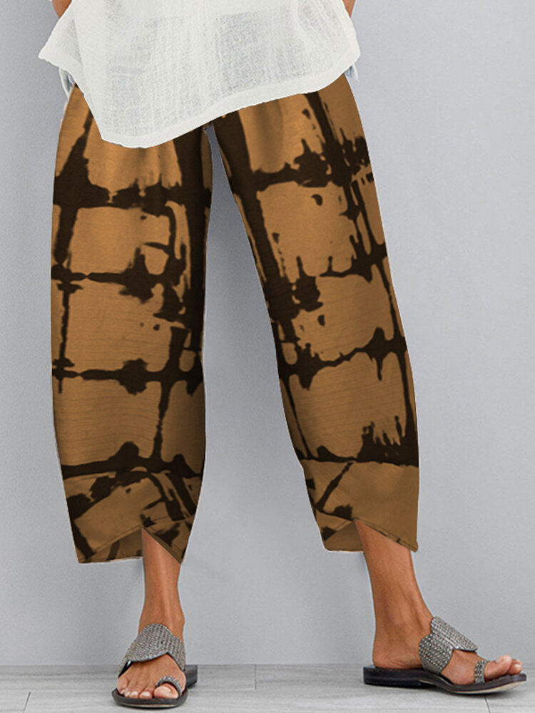 Best Casual Print Elastic Waist Plus Size Pants with Pockets You Can Buy